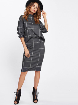Drop Shoulder Grid Top With Skirt SetA897