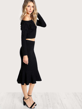 Off Shoulder Long Sleeve Crop Top & Matching Skirt BLACKA899