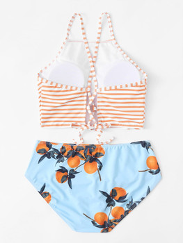 High Neck Striped Bikini SetA928