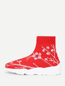 Calico Print Knit Sock SneakersA281