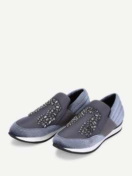 Rhinestone Decorated Slip On SneakersA283