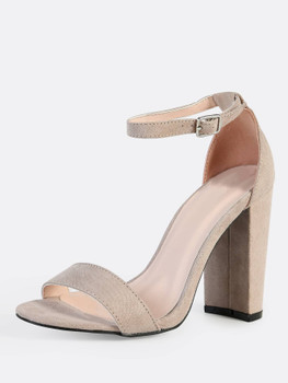 Single Band Ankle Strap Block Heels TAUPEA356