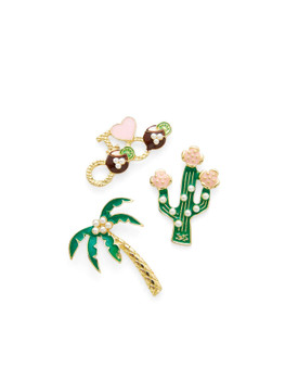 Palm Tree & Cactus Brooch Set A2