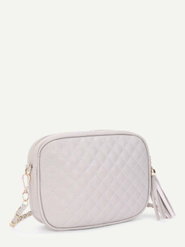 Quilted Crossbody Bag With Tassel A183