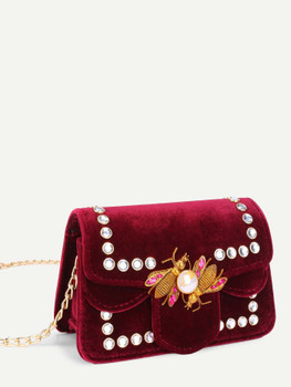 Insect Detail Velvet Chain Bag With Jewelry A185