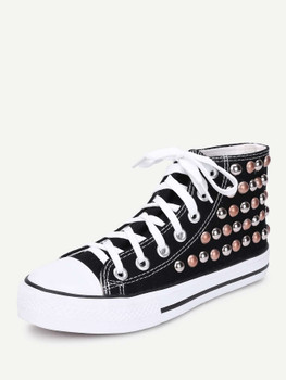 Lace Up Studded Detail Slip On Sneakers A199