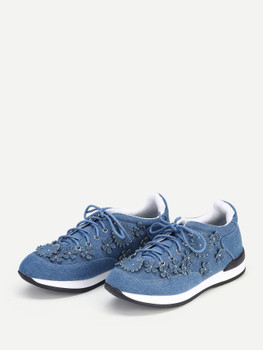 Lace Up Denim Flower Sneakers A202