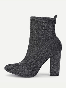 Almond Toe Block Heeled Ankle Boots A222