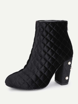 Faux Pearl Quilted Block Heeled Ankle Boots A223