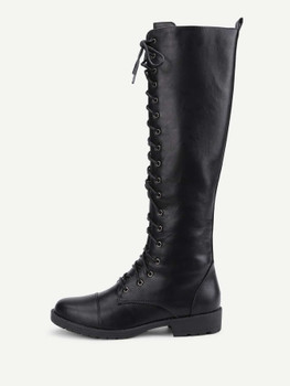Lace Up Front PU Flat Boots A227
