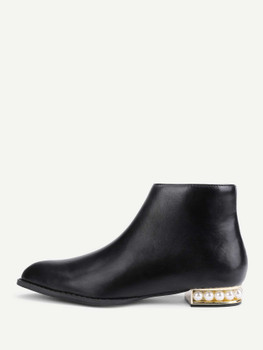 Side Zipper Faux Pearl Detail Ankle Boots A229