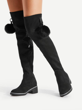 Pom Pom Decorated Over The Knee Boots A238