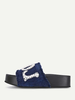 Letter Pattern Denim Sandals With Jewelry A240