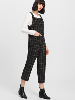 Buttoned Strap Pocket Patched Plaid Jumpsuit A410