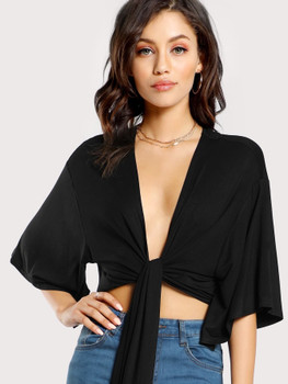Tie Front Plunging Kimono Top A488