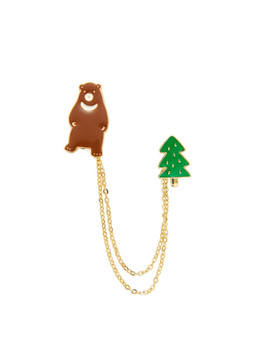 Bear & Tree Design Chain Brooch A5