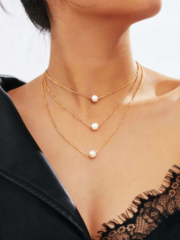 Faux Pearl Pendant Layered Link Necklace A68
