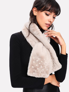 Faux Pearl Decorated Tippet Scarf A102