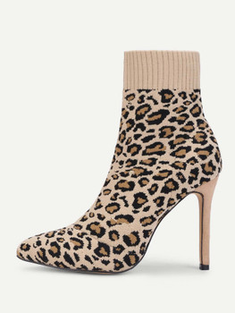 Leopard Print Stiletto Heeled Sock Boots A143