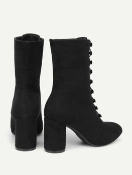 Pointed Toe Block Heeled Suede Boots A144