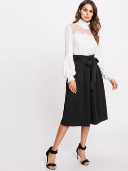 Box Pleated Self Belted Skirt A168