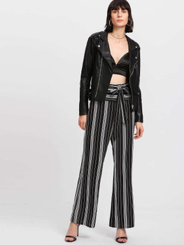 Self Belted Vertical Striped Pants A201