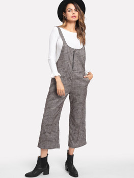 Ring Zip Plaid Strap Jumpsuit A227