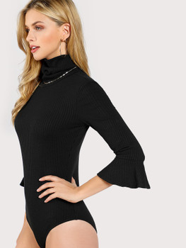 Turtle Neck Trumpet Sleeve Ribbed Bodysuit A237