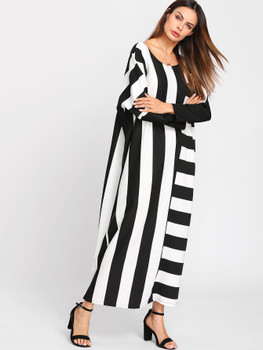 Contrast Stripe Dolman Sleeve Dress A589