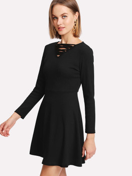 Criss Cross Front Ribbed Dress A635
