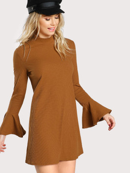 Bell Sleeve Rib Knit Dress A679