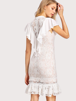 Floral Lace Overlay Flounce Embellished Dress A693