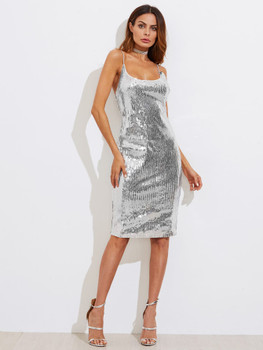 Metallic Sequin Slit Back Cami Dress A698