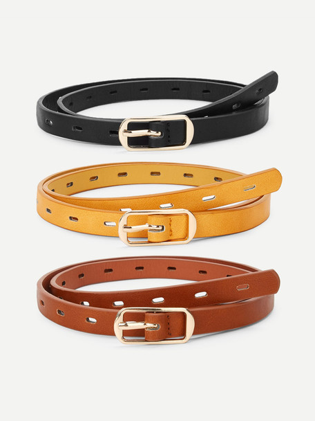 Metal Buckle Hollow Out Belt 3 Pcs A4841