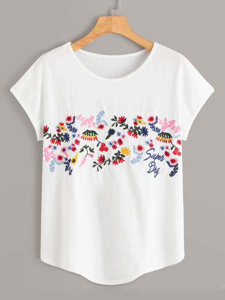 Floral And Letter Embroidered Tee A29383