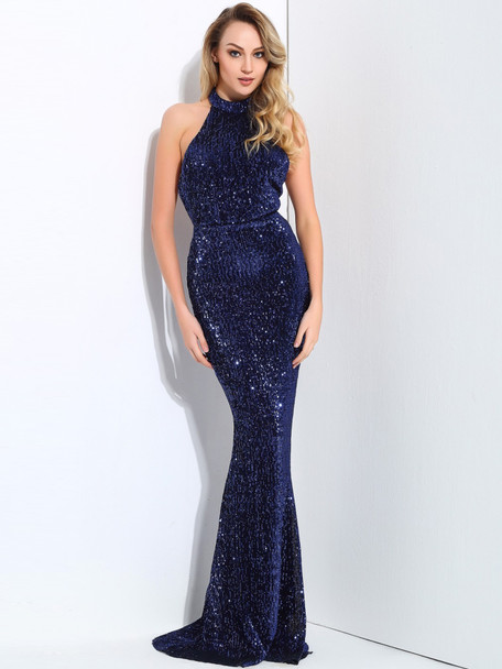 LOVE&LEMONADE Backless Sequin Floor Length Prom Dress A35955