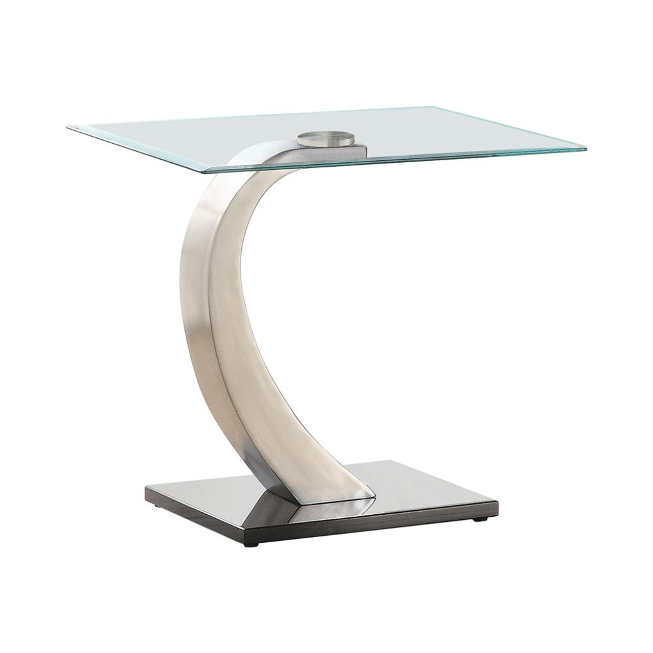 Coaster Living Room Glass Top Occasional Tables Willemse Glass Top End Table Clear And Satin 701237 On Sale At Spokane Furniture Company Serving Spokane Post Falls Coeur D Alene Wa Spokane
