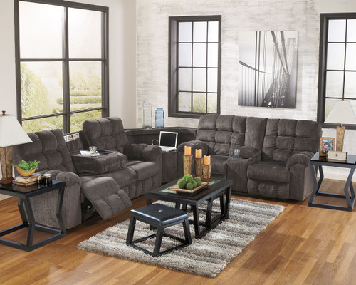 Ashley Acieona Slate 3 Pc. Reclining Sofa/Couch with Drop Down Table, Wedge & Double Reclining Loveseat with Console