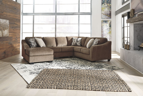 Ashley Graftin Teak LAF Corner Chaise, Armless Loveseat & RAF Sofa/Couch with Corner Wedge Sectional