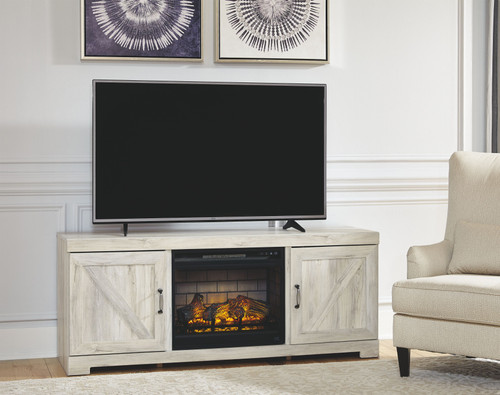 Ashley Bellaby Whitewash LG TV Stand with Fireplace Insert Infrared