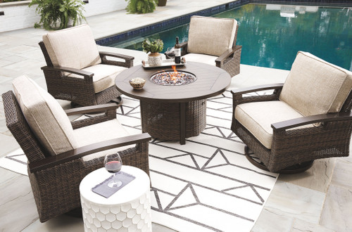 Ashley Paradise Trail Medium Brown Conversation Set with 4 Swivel Lounge Chairs