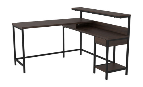 Ashley Camiburg Warm Brown L-Desk with Storage