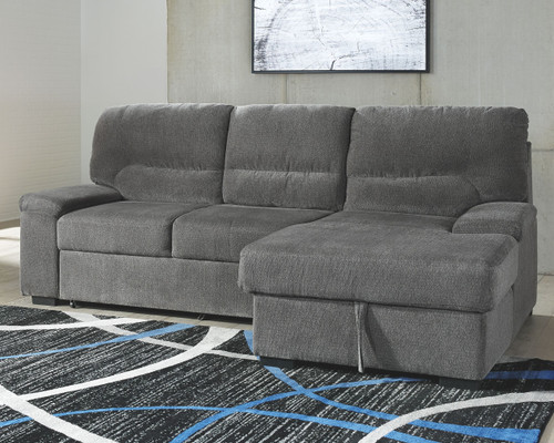 Ashley Yantis Gray LAF Sleeper Sectional with Storage