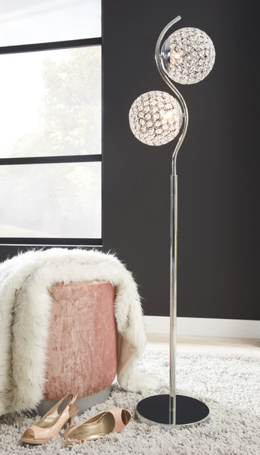 Ashley Winter Clear/Silver Finish Metal Floor Lamp (1/CN)