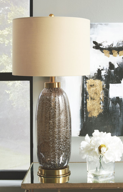 Ashley Aaronby Taupe Glass Table Lamp (2/CN)