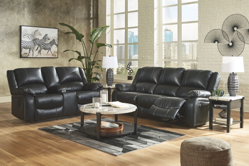 Ashley Calderwell Black 2 Pc. Reclining Sofa & Double Reclining Loveseat with Console