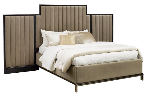 Coaster Formosa Collection - Stone - Formosa Queen Upholstered Bed Camel - 222820Q