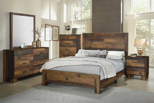 Coaster Sidney Collection - Sidney Queen Panel Bed Rustic Pine - 223141Q