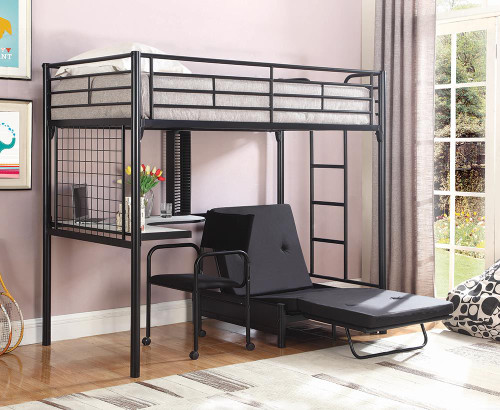 Coaster Jenner Workstation Loft Bed - Black - Jenner Futon Pad Black - 2335M