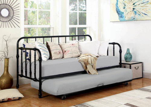 Coaster Twin Daybed With Trundle - Twin Metal Daybed With Trundle Black - 300765